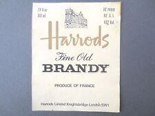 Vintage Label HARROD'S Fine Old BRANDY Department Store Knightsbridge London OLD