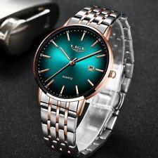 Top Brand Luxury Quartz Watch  Sport Waterproof   All Steel Slim Green Dial Date