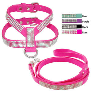 Soft Suede Dog Strap Harness and Leash Set D-ring Bling Rhinestone Adjustable