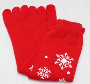 Christmas stocking Funny WomenS Knee-length Christmas Five Finger Toe Socks 5Col