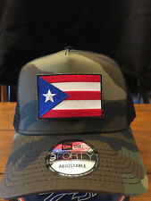 New Era NE205  Camo  Mesh Snapback Trucker Hat/Cap w/ Puerto Rico Rican Flag