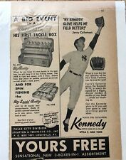 1957 Jerry Coleman Yankees Kennedy #578 Baseball Gloves Sports Promo Ad Padres
