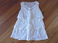 LADIES CUTE WHITE LAYERED COTTON SLEEVELESS TOP BY SUZANNE GRAE- SIZE 8 - CHEAP