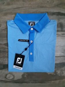 NEW FootJoy Mens Lisle Minicheck Golf Polo Medium Lagoon/White 26627