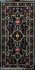 "24""x48"" Black Marble Dining Table Top Marquetry Inlay Christmas Decor Arts H1383"