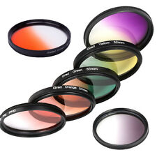 37- 82MM Graduated Color Lens Filter Orange Red Purple Yellow Blue Grey for DSLR