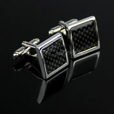 Stainless Steel Silver Square Cufflinks Men's Wedding Gift Grid Cuff Links Shirt