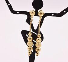 "2"" Italian Ball Satin Shiny Drop Dangle Earrings 14K Yellow Gold Clad Silver"