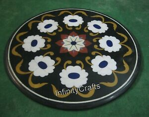 24 x 24 Inches Round Shape Coffee Table Top Floral Pattern Inlay Art Sofa Table
