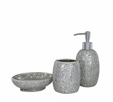 Silver Sparkle Glass Mosaic Bathroom Set Soap Dispenser Dish Toothbrush