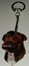 Wooden Staffordshire Bull Terrier Staffie key ring keychain Hand made UK