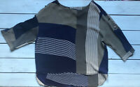 Next Navy Blue Khaki Green White Check Stripe Button Detail Top 14 - B67