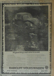 1969 newspaper ad for Volkswagen - All good things must end, Beetle keeps going