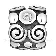 Lovelinks Bead Sterling Silver, Silver Swirls & Dots & CZ Charm Jewelry TT221CZ