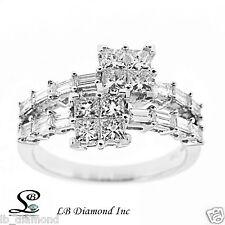 Diamond Ring 1.59ct, Princess Cut and Baugette Diamonds 18k White Gold