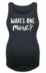 Maternity Vest Top Size 8 Ladies Cotton Tank Black Sleeveless T-Shirt