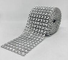 15ft 8 Row Diamond Rhinestone Mesh Ribbon Bling Wrap Roll Favor Decor Wedding