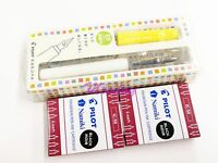 Pilot Kakuno Smile FKA-1SR Fountain Pen Extra Fine Nib + 12 BK Cartridges, SY