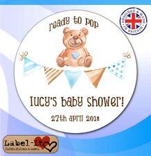 BLB07 48x 40mm Baby Shower Birth Boy Personalised Christening Sticker/Label/Card