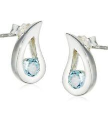 Elements Silver Blue Topaz Teardrop Stud Earrings