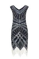 1920s Art Deco Vtg Sequin Flapper Downton Great Gatsby Charleston Dress New 8-18