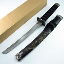 "SHORT SWORD Black Samurai 21"" Ninja Katana Japanese Dragon Anime Blade YK-58SRD"