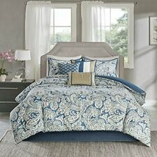 Madison Park Sateen Cotton Comforter Set-Traditional Luxe King Blue Beige 7 Pc