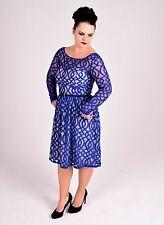 NWT - Mei Mei Blue Lace Audrey Hepburn Style Dress - Size 12