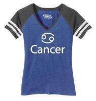Ladies Cancer Symbol Game V-Neck Tee Horoscope Zodiac Birthday