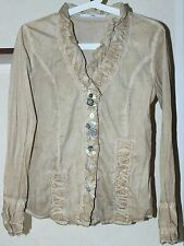 BOTTEGA ELISA CAVALETTI Button Down Blouse Shirt Sand Color Size M Made In Italy