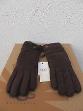 UGG LONG CHOCOLATE GLOVE WITH DECO PALM SUEDE SHEARLING GLOVES ~LARGE~ NWT