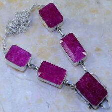 "Handmade Cherry Ruby Natural Gemstone 925 Sterling Silver Necklace 18.5"" #K69318"
