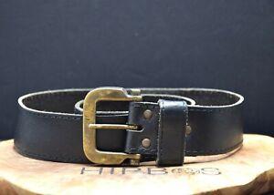 Vintage Womens Leather Waist Belt Black Size 26
