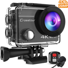 Crosstour 4K 20MP Action Camera WiFi EIS Waterproof  40M with External and