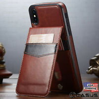 Leather Wallet Magnetic Vertical Flip Cover Stand Thin Case for iPhone XS MAX XR