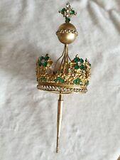 Ancienne couronne religieuse de statue vierge en laiton et strass XIXé ref 798