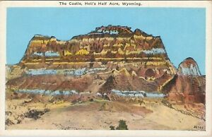 WB postcard, The Castle, Hell's Half Acre, Wyoming
