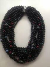 Made in the USA, 10-rows Black Onyx semi-precious gemstones, Layered with malac