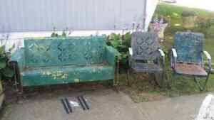 Vintage Pie Crust Design Metal Glider 2 Matching Chairs Antique SE OHIO 3 pieces