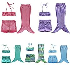 3PCS Set Girls Swimmable Mermaid Tail  Bikini Set Swimsuit Swimwear Costume
