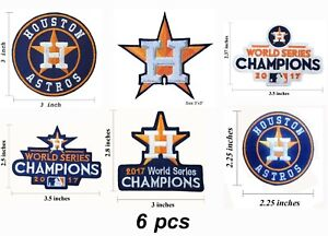 6 pieces Houston Astros Embroidered Iron On Patch.