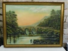 vintage old PAINTING oil BRIDGE SUNSET landscape signed