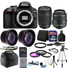 Nikon D3400 24MP Digital SLR Camera + 18-55mm + 70-300mm Lens + Accessory Bundle