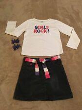 "Gymboree SUPER STAR ""Girls Rock"" Shirt, Corduroy Skort and Barrettes, Size 6"