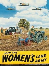 Women's Land Army, Vintage, Tractor Farm Pick-up, Spitfire, Small Metal Tin Sign