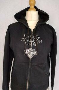 HARLEY DAVIDSON MUSEUM LADIES HOODIE SWEATSHIRT LARGE FRONT PRINT GOOD CONDITION