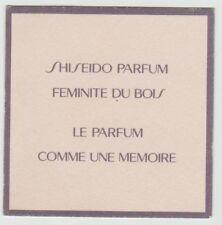 Carte à parfumer  - perfume card  -  Féminité du Bois Shiseido