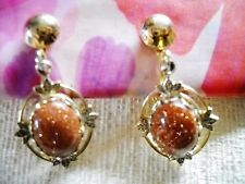 DEEP AMBER COLOR JELLY STONE BEAD CLIP-ON EARRINGS W/GOLD TONE SETTING