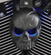 Skull Horn Cover. Evil Twin lighted eyes. Satin black.  Harley. BSETL-1