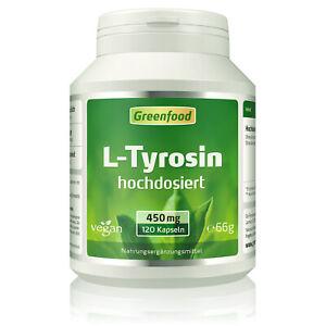 Greenfood L-Tyrosin, 450mg, hochdosiert, 120 Kapseln - vegan